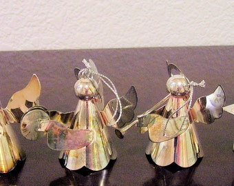 Vintage Silver Plated ANGEL Ornaments Set of 4 1970s