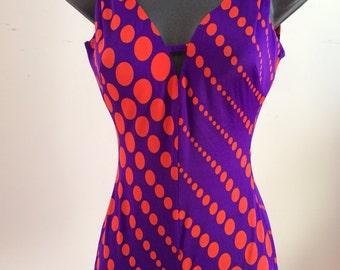 Vintage 1970's Purple and Orange Bathing Suit