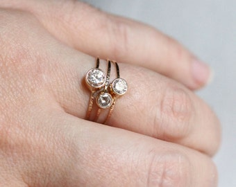 Three 14k Gold Delicate Moissanite Stack Rings - Dainty and Simple SOLID 14k Gold Rings - White or Yellow Gold Options