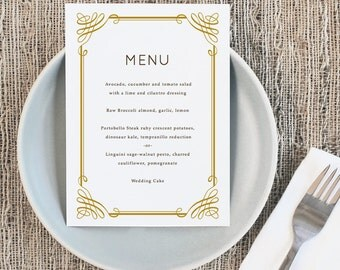Printable Wedding Menu Template | INSTANT DOWNLOAD | Classic | 5x7 | Editable Colors | Mac or PC | Word & Pages