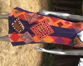SALE! Tribal Mirrored Embroidery Dress from Rajasthan, India – Adjustable straps with a V-Neck – Large -- Cotton base