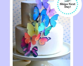 Wedding Cake Topper The Original EDIBLE BUTTERFLIES - Large Rainbow Assortment - Cake & Cupcake Toppers - Edible Cake Decorations