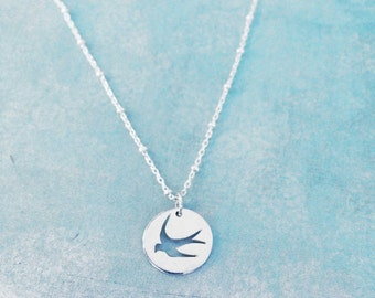 Sterling Silver Swallow Necklace Small Sterling Silver Bird Necklace