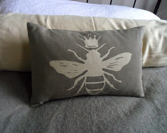 hand printed pale grey linen queen bee cushion cover