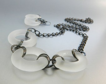 White Modern Necklace Earrings, Recycled Glass Jewelry, Grey Goose Bottle Glass