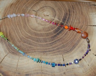 A little bit of everything necklace beaded with a wide variety of stones.