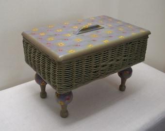 Vintage Blue Purple & Green Flowered Sewing Basket Stand