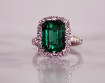 Emerald Engagement Ring, Emerald Ring, Full Lab Report/Appraisal Included