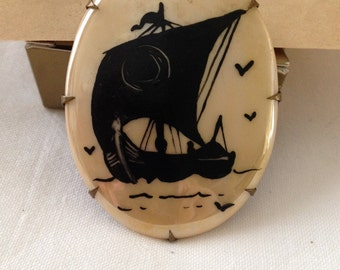 Ship Silhouette Brooch Porcelain Oval