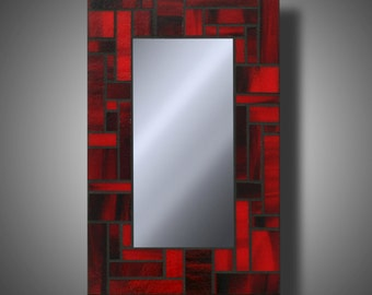 """Red and Black Stained Glass Mosaic Mirror - Bullseye Stained Glass - 7.75"""" x 12"""" - Modern Home Decor - Accent Mirror - by DeMaris Gaunt"""
