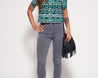 Green & White Aztec Print Shirt