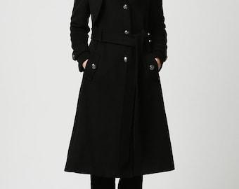 Black coat, black military jacket, wool coat, Womens coats, Long Black coat, Wool jacket, plus size coat, ladies clothing, gift for her 1122