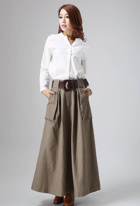 brown maxi skirt, linen skirt, long skirt, A line skirt, fall skirt, pleated skirt, pocket skirt, high waist skirt, classic skirt (820)