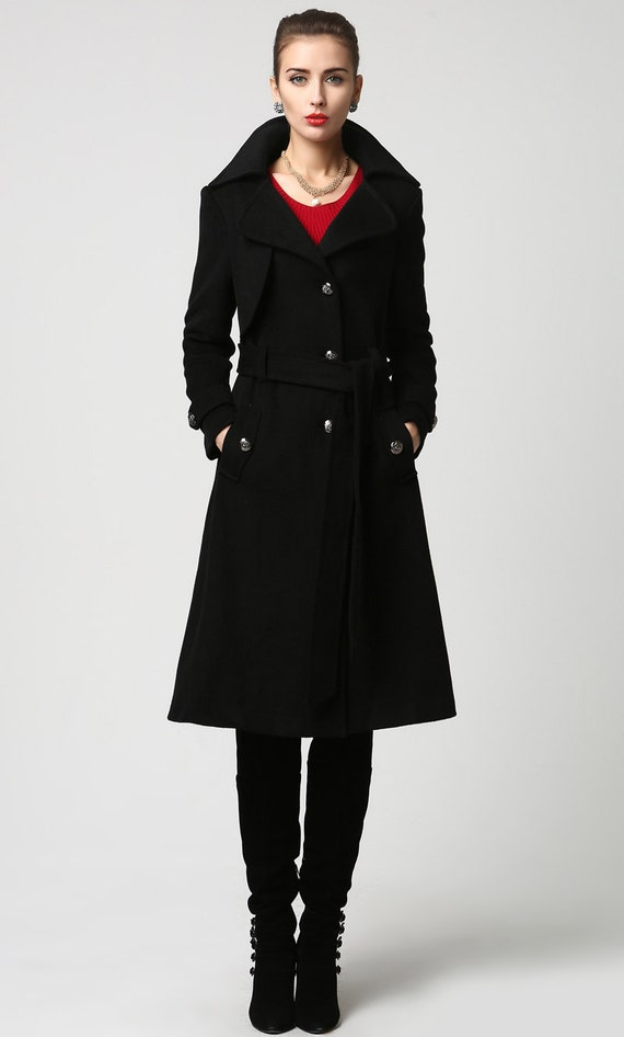 black coat women military jacket wool coat Womens coats