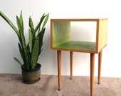 The Side Table... MCM Mid Century Modern Side Table in Summer Blonde and Apple Green / Furniture Midcentury Bed Side Table End Table Copy