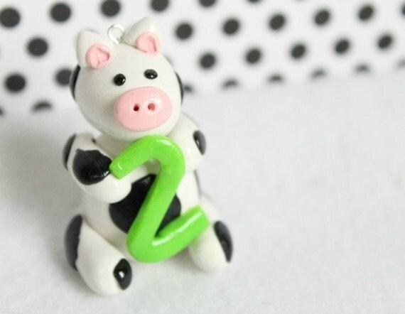 Cow Ornament, CUSTOM, Polymer Clay,