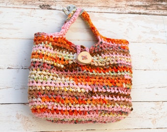 Boho Fall Rag Bag --- Crochet Basket Bag with a wooden Button --- Orange Pink Fabric Crocheted Purse --- Tagt Team