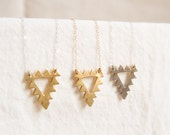 Brass Triangle necklace with Sterling SIlver or Goldfilled chain