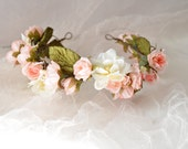 Boho rose crown, pink and ivory floral headband, bridal head piece, hair garland, wedding accessory - Blush