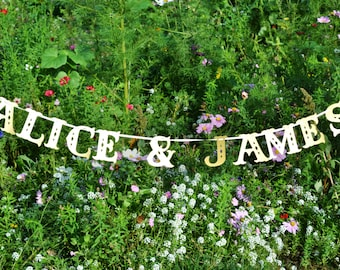 Custom name and colour banner for wedding decoration