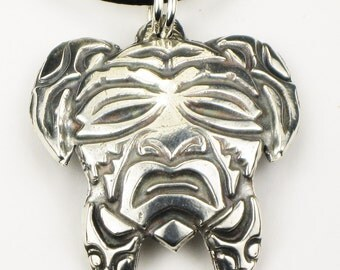 Native American Turtle Mask Sterling Silver Pendant or Key Ring - Tortuga Tribal Mask Fine Silver Key Ring or Pendant - Turtle Key Ring Gift