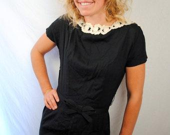 Amazing 40s 50s Black Lacey Lampl Dress