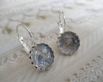 Dandelion Seeds Beneath Glass Atop Frosted Blue Background Crown Bezel Leverback Earrings-Symbolizes Happiness
