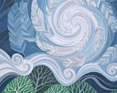 Sweet Unrest art print, swirling feather whirlwind sky over mountains and trees, wanderlust inspired