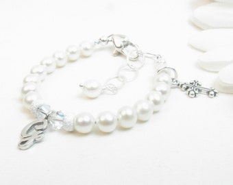 Baptism Bracelet // Christening Bracelet // Real Pearl Bracelet // Cross Bracelet // First Communion Gift // Confirmation Gift // Baby Girl