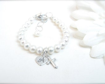 Christening Baptism Bracelet with Freshwater Pearls, Hand Stamped Initial Heart and Cross Charm