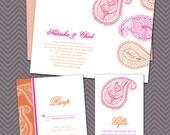 DIY- Paisley, Printable Wedding Invitation Suite, Moroccan, Indian