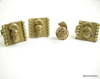 Roman Centurion Cuff Link Tie Tac and Tie Bar Accessory Set