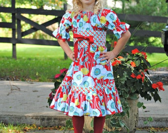 Girls Peasant Dress, Girls dress, Toddler dress, Childrens Clothing, Girls Clothing, Baby Girl Dress, red, Birthday Party Dress, size 3 - 8