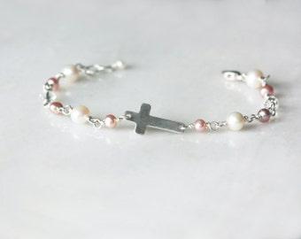 Confirmation Jewelry, First Communion Jewelry, 1st Communion Jewelry, Cross Bracelet, Pearl Bracelet with Cross, Cross Bracelet Pearls, Girl