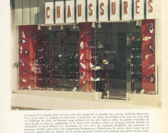 French Shops 5: Shoe Shop, Paris, France, Colour Photograph, 1960's, Emaillerie de Saint-Maurice, French Decor, Mid Century Modern