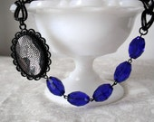 Black, Blue, Lace - Beaded Necklace