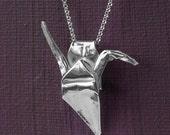 Origami Crane Necklace in Sterling Silver - Fine Silver Origami Pendant - Handfolded Origami Crane