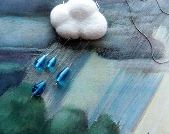 A Happy Little Rain Cloud, hand felted necklace with jeweled rain drops.