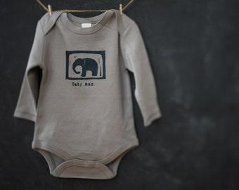 Custom Baby Onesie - Little Elephant One piece - Personalized Organic Onesie - Custom Baby Name - Block Printed Onesie - New Baby Gift