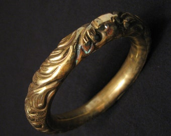 BIG Antique Victorian Hollow Brass Repousse Scrolled Flower Jingle Chime Bangle Bracelet