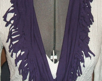Infinity Scarf CLEARANCE 6.00! Recycled Plum Infinity Scarf From T shirt  Repurposed Fashion Circle Scarf
