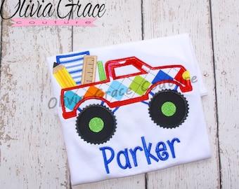 Back to School Boys Shirt, Monster Truck, Preschool, Kindergarten, 1st grade, Back to School Embroidered Shirt