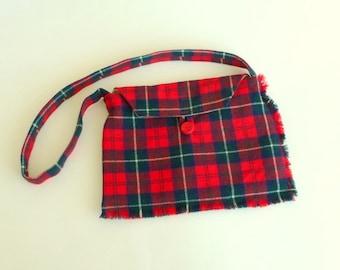 Tartan Wool Purse - Scotland Kilt - Hand Made - Plaid - Red Navy - Celtic - Romantic - Shoulder Bag - Recycled - UNIQUE - OOAK