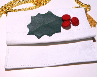 Small Purse - Christmas Holly Leaf - White Leather - Hand Made - Bride - Christmas - Unique Holiday Necklace - Shoulder Purse - Recycled