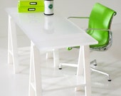 Dollhouse Modern Transparency white top working table with triangle leg (scale 1:12)