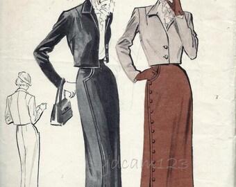 Vintage 1950s Bolero Suit Pattern Asymmetrical Skirt Closing Cropped Jacket Diagonal Button Pencil Skirt  1950 Butterick 5202 Bust 32