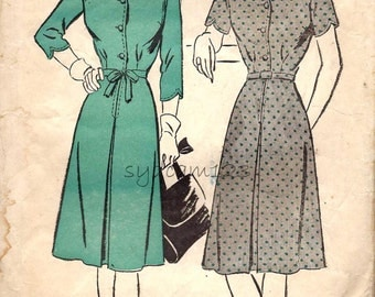 Vintage 1944 Scallop Bodice Shirtwaist Dress Pattern Tie Belt Shaped Sleeves 1940s Advance 3755 Bust 30