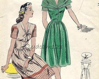 Vintage 1944 Double Collar or Tie Collar Shirtwaist Dress Pattern Short Sleeves 1940s Vogue 5058 Bust 32