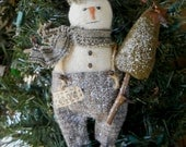 Primitive Snowman Christmas Ornament