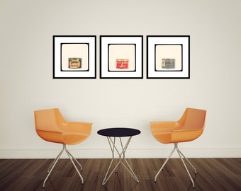 Coffee House Decor - vintage coffee can art wall prints - kitchen wall decor, cafe wall art, vintage style, crimson red, teal, orange